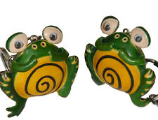 A pair of leather Bag-charms/Key-Chain(2 of them),Over Weight Frog Pattern,Green