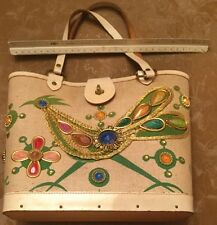 VINTAGE ENID COLLINS! ROAD RUNNER! BEADED, JEWELED PURSE, BEIGE