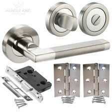 Modern Interior Door Handle Pack Duo Polished / Satin Chrome Bathroom Handles