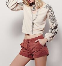 3098 New Free People Senorita Embroidered Beige Cotton Blouse Pullover Top S 6