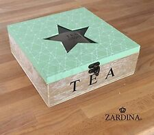 Karla - Geometric Design Wooden Tea Box with 9 Compartments Star Glass Top Green