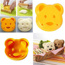 Cute Plastic Yellow Teddy Bear Sandwich Toast Cookie Cutter Maker Press Mold