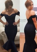 NEW SEXY OFF SHOULDER NAVY MERMAID PEPLUM FISHTAIL MIDI DRESS SIZE 14-16