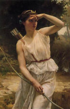 Huge Oil painting Guillaume Seignac - Fairy Diana Hunting in landscape canvas