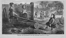 JUVENILE ILLUSTRATION, CHILDREN PLAYING ON THE SEE-SAW, ANTIQUE KIDS ENGRAVING,