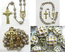 † RARE ANTIQUE 1/20 12K GF YELLOW GOLD OVER STERLING ROSARY 22.54 GRAMS †