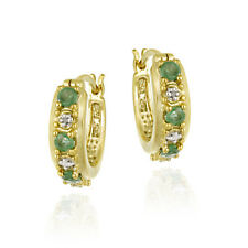 18K Gold over 925 Silver Emerald & Diamond Accent Hoop Earrings