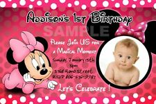 MINNIE MOUSE HOT PINK DOTS POLKA ZEBRA BIRTHDAY PARTY INVITATION BABY 1ST - A2