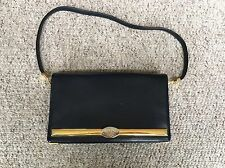 Vintage Christian Dior Navy Calf Skin Leather Handbag