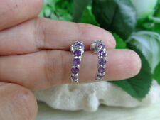 Natural AMETHYST Stone .925 Sterling Silver HOOP Earrings