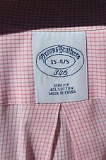 Brooks Brothers '346' 15/34-35 Slim Fit Pink Check All Cotton LS Dress Shirt