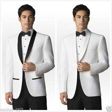 Slim White Black Men Suit Groom Wedding Formal Tuxedos Suits Jacket Pants Custom