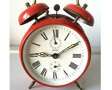 MAUTHE Alarm Clock Wecker Mechanisch 50er Jahre Rot läuft & klingelt 2 Glocken