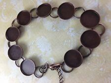 1 Antique Copper Tray Cabochon Setting Blanks Bracelet 63390