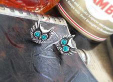 Chic Vintage Silver Owl Blue Rhinestone Fashion Jewelry Ear Drop Stud Earrings