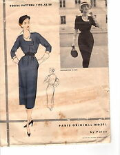 Vtg 1950s Vogue Paris Original Sewing Pattern Women's DRESS 1192 Patou 12 UNUSED
