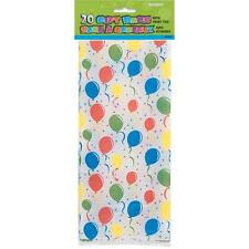 Cello Bags FESTIVE BALLOONS BIRTHDAY PARTY Theme FAVOR TREAT BAGS PKG. OF 20