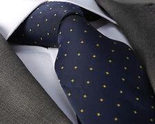 Nuevo diseñador italiano azul marino y Amarillo Corbata Seda Polka
