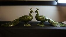 LOT OF 2 GREEN MULTI COLOR APPROX 20 INCHES LONG DEFOREST PEACOCKS NICE