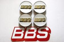 4 BBS 70mm WHITE GOLD 3D LOGO 3 TAB CENTER CAPS 56.24.190 or 56.24.073