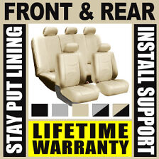 SOLID TAN COMPLETE FULL CAR SEAT COVERS SET - OEM Solid Rear Truck SUV Beige B07