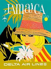 VINTAGE JAMAICA DELTA AIR LINES TRAVEL A4 POSTER PRINT