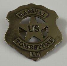 Silver US Marshall Badge 'Tombstone AT' - Ranger/Police/Cowboy Wild West Western