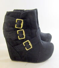 "new shiekh Blacks 5""high wedge 1.5""platform gold buckle sexy ankle boot size 7"