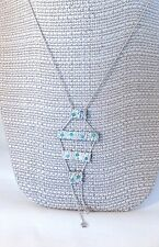 Vintage Sterling silver & blue fire Opal Y necklace unique modern signed YAM
