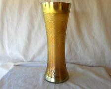 LCT LC Tiffany Glass Gold Aurene Favrile Large Etched Pattern Vase 11 3/4""