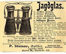 Optiker P. Steiner Berlin JAGDGLAS Historische Reklame von 1901