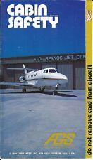 Safety Card - AGS AG Spanos Construction - HS 125 - N600AG - 1984 (S3728)