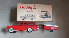 VINTAGE BUDDY L RUGGED STEEL 1960's TEEPEE CAMPING TRAILER WAGON IN ORIGINAL BOX
