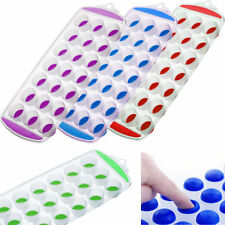 ICE CUBE TRAY Easy Pop Maker Plastic Silicone Top Mould 21 Ice Cubes WITH HANDLE