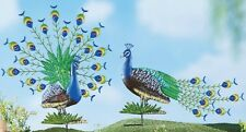 Peacock Outdoor Decor Garden Stake Set Metal Bird Sculpture 2 Lawn Yard Statues