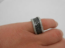 Gorgeous Wide & Heavy Designer 14K White Gold Black & White Diamond Band Ring  7