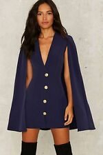 nasty gal Rare London On Deck Cape Dress large navy new