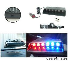 EMERGENCY FLASHING WARNING 6 LED LIGHT RED & BLUE DECK TRUCK DASH STROBE 12V NEW