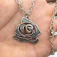 silver Rose Flowers pendant alloy necklace women girl necklace friend gift #1