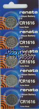 5 pc CR 1616 Renata Lithium Watch Batteries  FREE SHIP