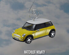 Yellow Hard Top 2 Door Austin Mini Cooper Custom Christmas Ornament 1/43 BMW Car
