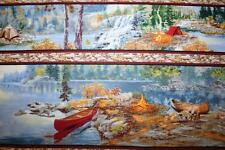 "OOP ""LAKESIDE CAMPING"" BORDER PRINT LAKE FISHING, CANOE, CABIN  OUTDOOR FABRIC"