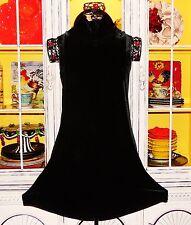 Betsey Johnson VINTAGE Dress VELVET Black FIT & FLARE High Neck SKATER L 8 10 12
