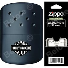 Zippo HARLEY DAVIDSON BLACK Hand Warmer + Pouch & Additional Burner 40319  44003
