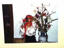 Vintage 80s Photo Halloween Costume Pirate Buccaneer Eye Patch Asian Flower Pot