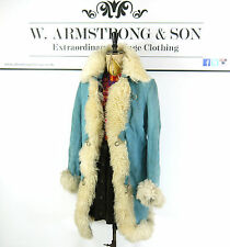 VTG Sky Blue 70s REAL SUEDE LEATHER Shaggy SHEARLING Penny Lane AFGHAN Coat 10