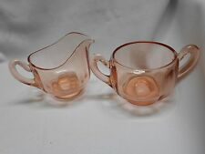 vintage pink depression elegant glass cream and sugar set