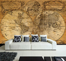 Wall removable sticker old vintage golden world map vinyl mural