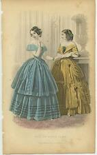 ANTIQUE VICTORIAN WOMAN BLUE YELLOW GOWN DRESS GRAPES CLUSTERS DISTRESSED PRINT