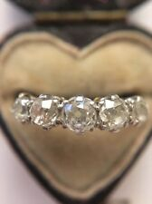 Antique Art Deco Platinum 5 Stone Old Cut 1.1CT Diamond Ring Bright Stones Large